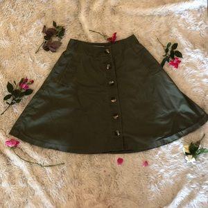 Button down high waisted army green skirt